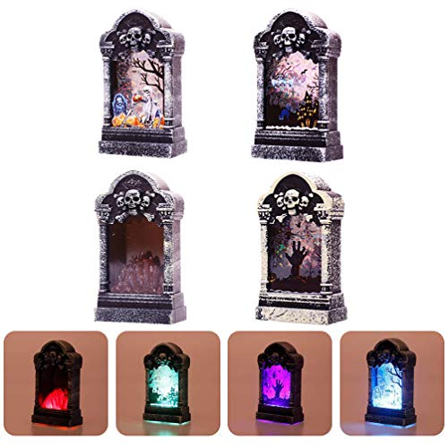 OSALADI Halloween Skeleton Lantern Decorations, Halloween Tombstone Night Light Halloween Skull Lanterns for Indoor Outdoor Party Haunted House Bar Ornaments, 4Packs Random Style