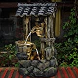 Brafab 3-Tier Water Fountain Floor Standing Rock Indoor Outdoor Water Fall Fountain with 3pcs Yellow LED Light Lid and Bucket for Patio Yard Garden Lawn 30' Height