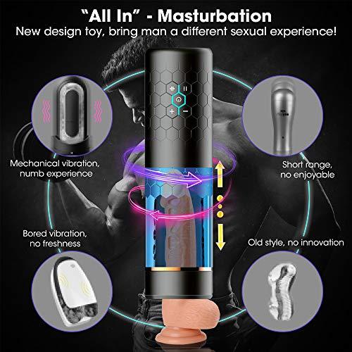 Massagegerät mit Rotations Men Cup USB Oral Spielzeug für Männer, Black