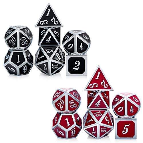 DNDND Color Changing Metal Dice Set, Temperature Sensitive DND Game Dice Set with Free Metal Tin for Dungeons and Dragons D&D Rolling Table Games (Silver Number with Black to Red)