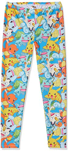 Meroncourt Damen Women's All-Over Fighting Pokemon Characters Print, Large, Multi-Colour Legging, Blau Blue, W30/L32
