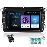 Radio para Coche Android para VW GPS 2G+16G Camecho 8'' Pantalla Táctil Bluetooth Car Reproductor Estéreo WiFi FM Radio Receptor Dual USB para VW Golf Polo Touran Tiguan Seat Altea