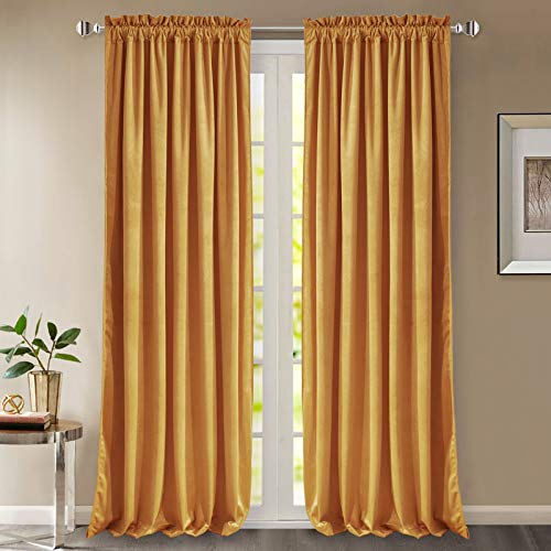 StangH Velvet Curtains 96 Inches - Super Soft Velvet Drapes Heat & Sunlight Blocking Curtain Panels with Dual Rod Pocket for Living Room Hall / Holiday Fete, Warm Gold, 52 x 96 inches, 2 Pcs