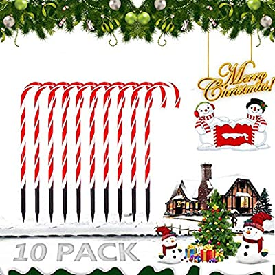 Shan-S Candy Cane Lights,Christmas Candy Cane LED Yard Lawn Pathway Markers,Christmas Indoor/Outdoor Decoration Lights,Waterproof Candy Cane Decorations, Light Up Outdoor Christmas Decorations