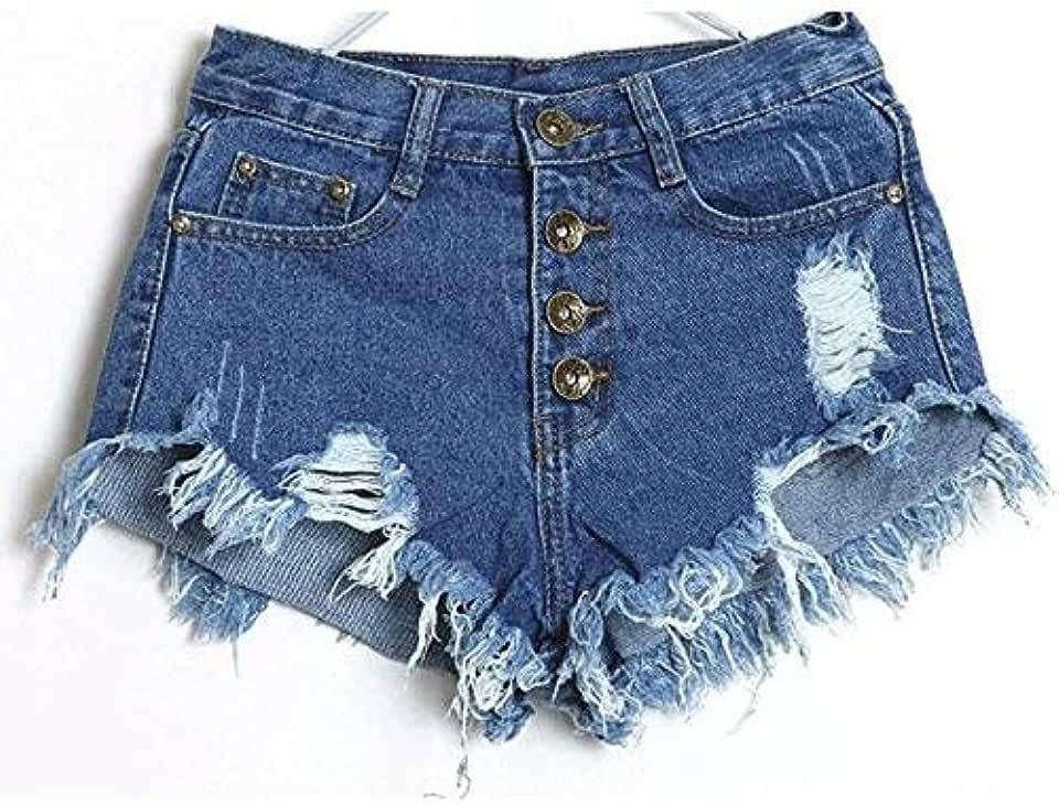 iDWZA Women Vintage High Waist Jeans Hole Short Jeans Denim Shorts
