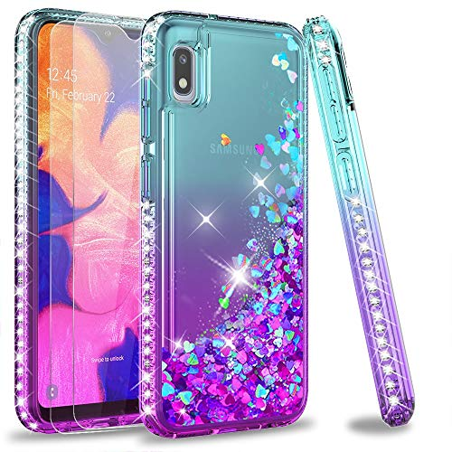 LeYi Galaxy A10e Case with Tempered Glass Screen Protector [2 Pack] for Girls Women, Glitter Bling Diamond Liquid Clear Phone Case for Samsung Galaxy A10e ZX Teal/Purple (Not fit Galaxy A10)
