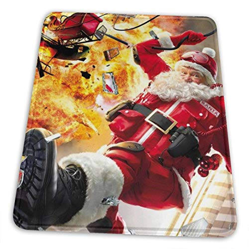 Christmas Santa Blows Up Reindeer Cars Xmas Mouse Pad With Stitched Edge Non-Slip Rubber Base Mousepad Accessories For Laptop Computer & Pc