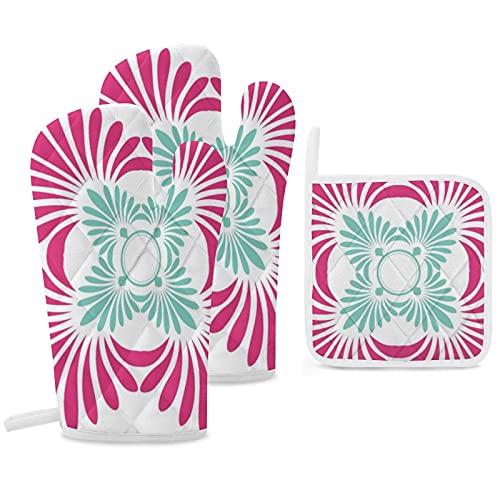 Juego de 3 manoplas y soportes para ollas resistentes con guantes de poliéster antideslizantes para cocina, cocina, hornear, parrilla, reversible, fucsia rosa y verde menta floral
