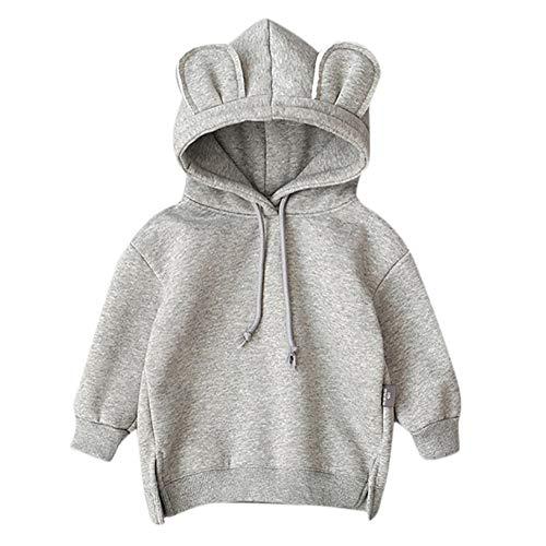 Mamum Bébé Enfants Garçon Fille Capuche Cartoon 3D Oreille Sweat à Capuche Tops Vêtements (gris, 80(6-12Mois))