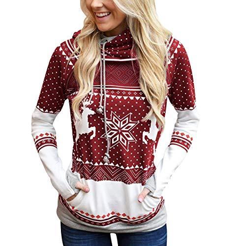 Sudadera Navidad con Capucha Mujer Sudaderas Navideñas Estampadas Jersey Navideño Sueter Reno Sweaters Pullover Hoodies Largas Chica Oversize Anchas Deporte Larga Invierno Personalizadas Vino Rojo M