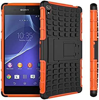 Sony Xperia Z3 Case,Xperia Z3 Case Protective*HOT* [Heavy Duty Armor][Shockproof]Dual Layer 2 in 1 Combo Defender Hybrid Case Cover with Kickstand for Sony Xperia Z3 .-(Orange)