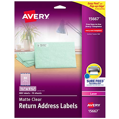 Avery Matte Frosted Clear Return Address Labels for Laser Printers, 1/2' x 1-3/4', 800 Labels (15667)