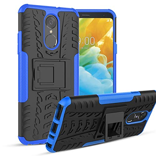 LG Stylo 4 Hülle (2018), LG Stylo 4 Plus Hülle, LG Q Stylus Hülle mit Bildschirmschutzfolie & Kickstand Cover Skin, Kratzfest/stoßdämpfend/staubabweisend, für LG Stylo 4, blau