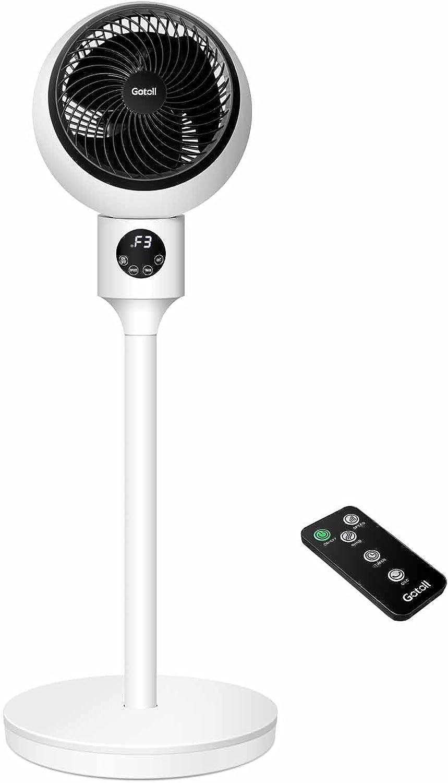 Gotoll Ventilador de Pie,Ventilador Pedestal de 30 cm con Control Remoto y Pantalla LED,50W,3 Velocidades,3 Modos de operación,Oscilación de 90°,3 Aspas,Mando a Distancia,Temporizador 15 Horas