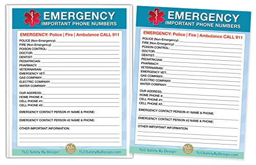"""TLC Safety By Design Premium Large 8.5"""" x 11"""" Emergency Important Phone Numbers List Magnetic Home Alone Doctor Approved Refrigerator (2 Cards and 1 Magnetic Sleeve, Blue Medical ICE)"""