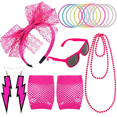 Whaline 80s Costumes Accessories for 80s Parties, Fishnet Gloves Neon Earrings Lace Headband Retro Glasses Silicone Bracelets Long Bead Necklace for Women (Rose red)