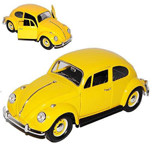 Lucky Die Cast Volkwagen Käfer Coupe Gelb mit gelben Radkappen 1967 1/24 Yatming Modell Auto