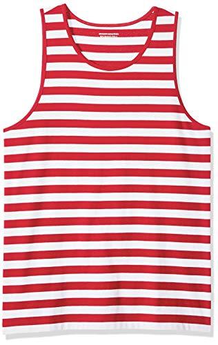 Amazon Essentials – Camiseta de tirantes de corte entallado para hombre, Rojo/Blanco, US S (EU S)