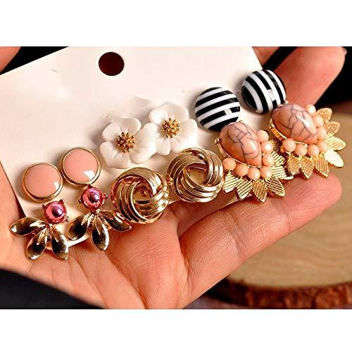 GSZPXF Partido de la joyería de Las Mujeres de la Moda Pendiente de Oro Forma Floral Rosado Mezclado 6 Pares Establecido Regalo/Pendientes (Color : Mashup a Set)