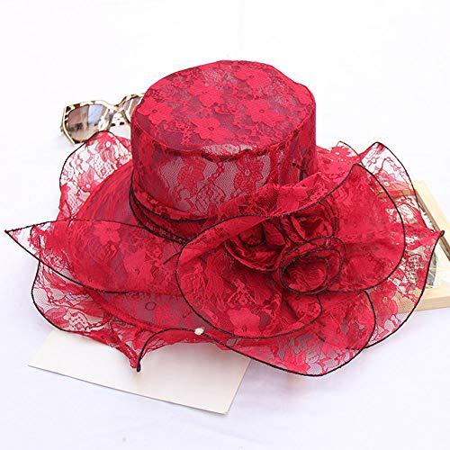 DRGE Sombrero para el Sol de Mujer Visor de ala Ancha de Encaje Elegante Lady Flower Cap a Juego Sombrero de Vestir Fascinator,Rojo