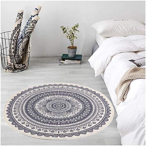 Pauwer, tappeto rotondo, in cotone intrecciato a mano, con nappe, antiscivolo, lavabile, per soggiorno, camera da letto, cameretta dei bambini, nero/grigio, Runde 120cm