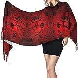 Bufanda de mantón Mujer Chales para, Fondo de papel tapiz de patrón de Halloween Bufanda cálida de invierno para mujer Bufandas de abrigo de chal de cachemira suave grande y largo a la moda
