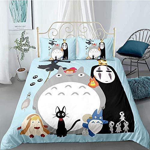 NBAOBAO - Juego de cama Totoro de 3 piezas con estampado de cuentos de hadas, se puede utilizar para decoración del hogar en habitaciones infantiles (topo1, doble 200 x 200 cm)
