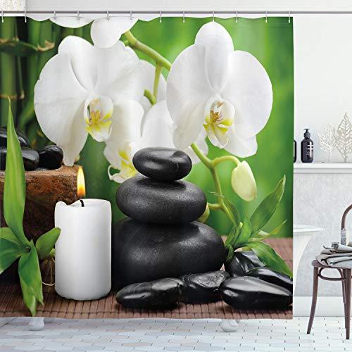 ABAKUHAUS Spa Duschvorhang, Orchideen Zen Steine Natur, Wasser Blickdicht inkl.12 Ringe Langhaltig Bakterie & Schimmel Resistent, 175 x 240 cm, Schwarz-weiß & grün