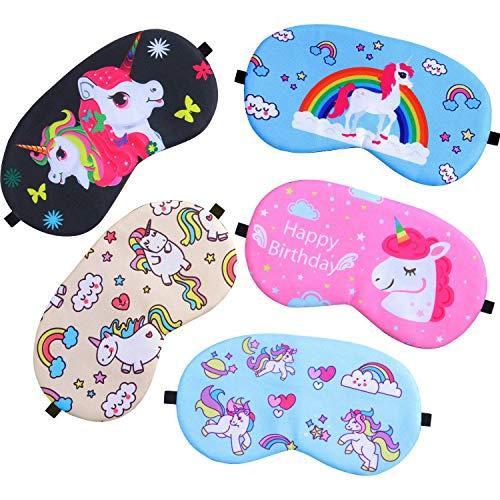 ICEBLUEOR 5 unidades de antifaz de unicornio para dormir, liviano, suave, para niños, niñas, hombres y mujeres