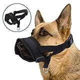 Nobleza - Bozal para Perros, Bozal Lazo Nylon Bozal Ajustable para Perro Cómodos Transpirables y Seguros Negro L