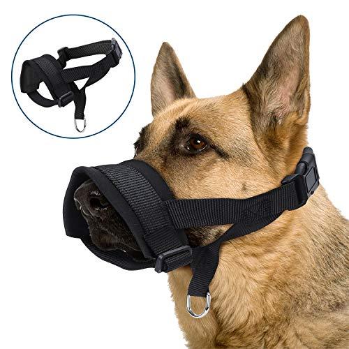 Nobleza Maulkörbe Für Hunde, Maulkorb aus Nylon um Hunde vom Beisen, Bellen und Kauen abzuhalten, mit Verstellbarer Schlaufe und weicher Neoprenpolsterung Größe XL