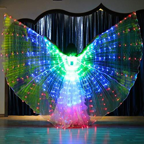 ToDIDAF Damen Kinder LED-Flügel bunt wasserdicht Bauchtanz-Kostüme leuchtende Bühne Show Performance Kleidung mit tragbarem Teleskopstab für Karneval Bühne Halloween Weihnachten Party, grün