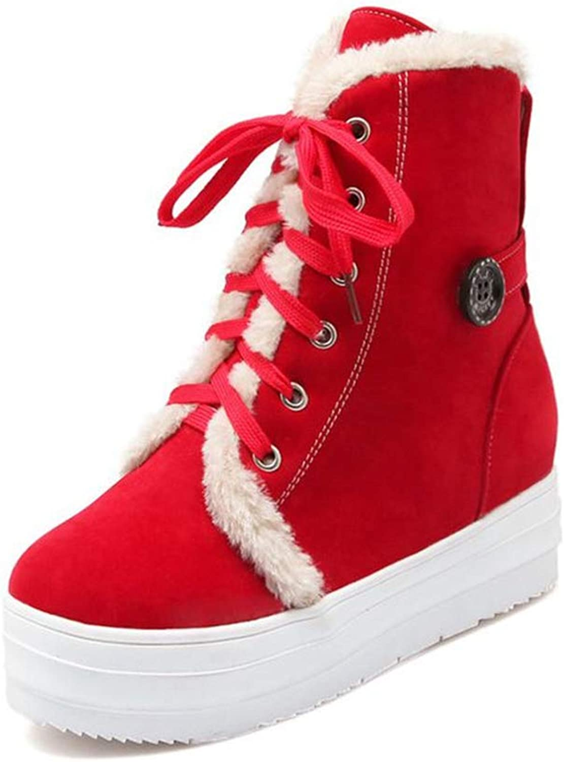 pink town Women's Winter lace up Snow Boots Waterproof shoes