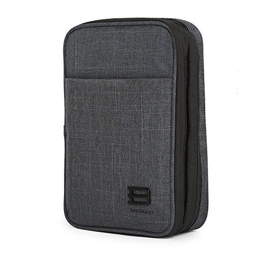 BAGSMART Bolsa Accesorios Electronica Organizador Doble Capa Viaje para Tablets de 7,9 pulgadas, Cargador, Cables, Memorias USB, Powerbanks, Baterias, Tarjeta SD (Negro)