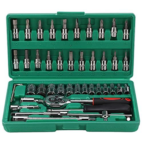 Set di punte a bussola in acciaio al carbonio da 46 pezzi Kit di strumenti hardware universale per chiavi di riparazione automatica con cassetta degli attrezzi premium