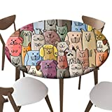 "SfeatrutMAT Indoor Outdoor Polyester Fitted Tablecloth Cover Flannel Backed Lining Stretched to Fits up 45""-56"" Diameter Tables Funny Dogs Family Pattern for Your Design"