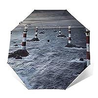 モダンな灯台 折りたたみ傘 自動開閉 超軽量 耐強風 ワンタッチ 頑丈な8本骨 メンズ 台風対応 梅雨対策 大きい 超撥水 おりたたみ傘 高強度カーボンファイバー ビッグサイズ 晴雨兼用 収納ポーチ付き (黒)