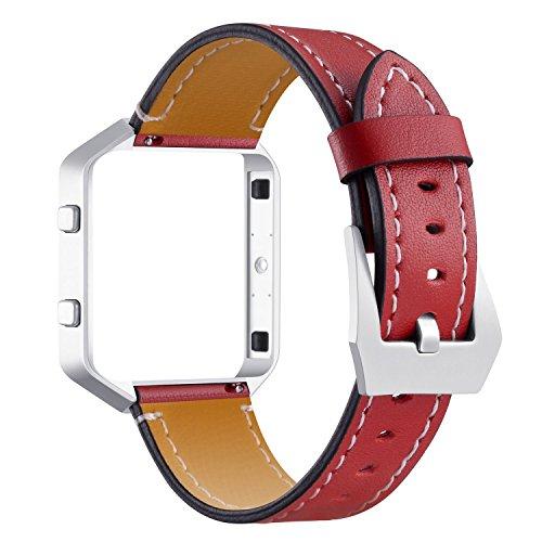 Correa de pulsera para mujer Fitbit Blaze, correa de reloj de piel auténtica suave con hebilla de metal y marco ajustable de 5.5 a 8.0 pulgadas, compatible con Fitbit Blaze, color rojo