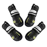 QUMY Dog Boots Shoes for Large Dogs Water Repellency with Reflective Strip Rugged Anti-Slip Sole Black 4pcs