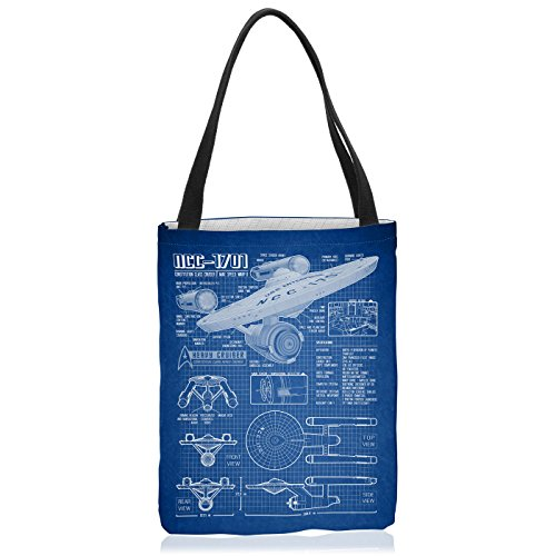 VOID NCC-1701 Blaupause Tasche Einkaufs-Beutel Polyester Shopper Einkaufs-Tasche Bag Christopher Pike Trek Trekkie Star, Polyestertasche Größe:Medium