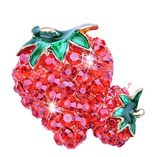 Broches de fresa de diamantes de imitación para mujer joyería de moda...