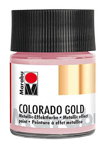 Marabu 12640005734 - Metallic Effektfarbe, Colorado Gold rosé gold 50 ml, auf Wasserbasis, lichtecht, wetterfest, schnell trocknend, zum Pinseln und Tupfen auf saugenden Untergründen