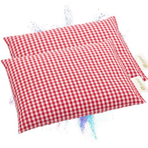Juego de cojines de huesos de cereza Herbalind Oktoberfest – 100% algodón 20 x 25 cm hecho a mano – Diseño a cuadros – Cojín de calor o frío para microondas, rojo (2 unidades)