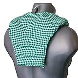 Saco térmico de semillas - verde y blanco - Cojín para el cuello con parte dorsale - Cojín caliente para la espalda - Almohada térmica - Pepitas de uvas
