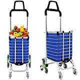 Folding Shopping Cart Heavy Duty Rolling Grocery Carts Reusable Utility Transit Stair Climbing Cart W/Swivel Wheel Bearings, Collapsible Frame, 177 pounds Capacity (Utility Carts w/Bag - G2)