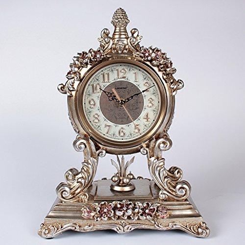 Horloge de table Horloge haut de gamme de salon de style européen / personnalité créative muet maison horloge rétro Pendules et horloges ( Couleur : Silver )
