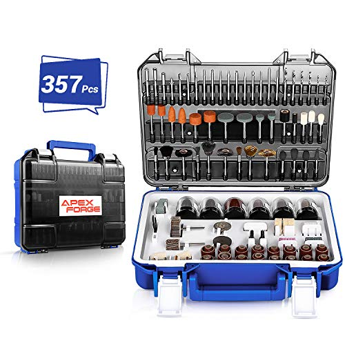 """Rotary Tool Accessories Kit, APEXFORGE 357 Pieces 1/8""""(3.2mm) Diameter Shanks Universal Fitment for Easy Grinding, Sanding, Sharpening, Carving-M0"""