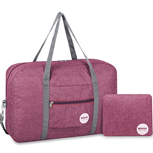 WANDF Leichter Faltbare Reise-Gepäck Handgepäck Duffel Taschen Übernachtung Taschen/Sporttasche für Reisen Sport Gym Urlaub Weekender handgepaeck (B - Rot mit Schultergurt)