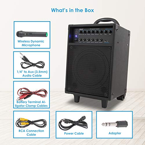 Pyle Wireless Portable PA System-400W Bluetooth Compatible Rechargeable Battery Powered Outdoor Sound Stereo Speaker Microphone Set w/Handle, Wheels-1/4 to AUX, RCA Cable (PWMA230BT)