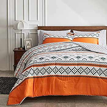 FlySheep Bed in a Bag 7 Pieces Queen Size Orange Bohemian Tribal Style Soft Microfiber Reversible Bed Comforter Set  1 Comforter 1 Flat Sheet 1 Fitted Sheet 2 Pillow Shams 2 Pillowcases